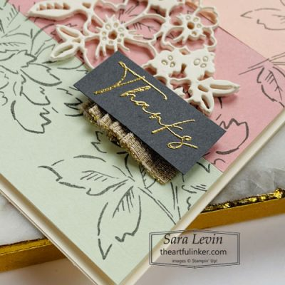 Strip technique card Hand Penned Petals thanks detail SHOP for Stampin Up with Sara Levin theartfulinker.com