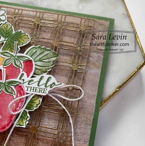 Sweet Strawberry Hello card for Creation Station Blog Hop SHOP sentiment detail for Stampin Up with Sara Levin theartfulinker.com