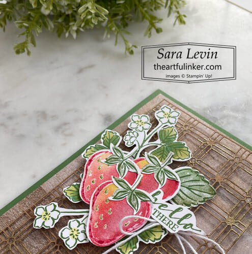 Sweet Strawberry Hello card strawberry detail for Creation Station Blog Hop SHOP for Stampin Up with Sara Levin theartfulinker.com