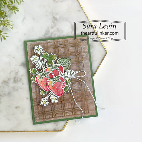 Sweet Strawberry Hello card for Creation Station Blog Hop SHOP for Stampin Up with Sara Levin theartfulinker.com