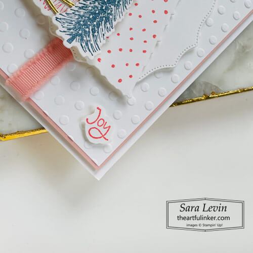 Whimsical Trees Christmas card sneak peek sentiment detail for OSAT Blog Hop Christmas in July SHOP for Stampin Up with Sara Levin theartfulinker.com