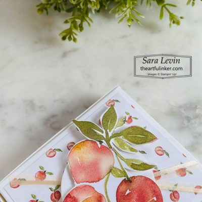 You're a Peach easy treat box top detail SHOP for Stampin Up with Sara Levin theartfulinker.com