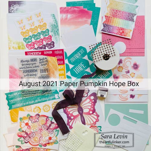 August 2021 Paper Pumpkin Hope Box contents SUBSCRIBE to Paper Pumpkin with Sara Levin theartfulinker.com