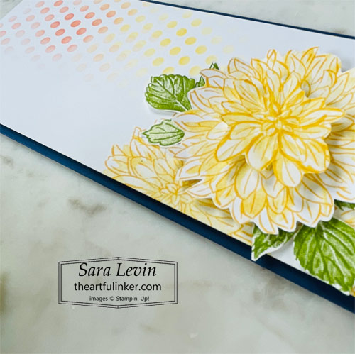 Delicate Dahlias slimline card dahlia detail SHOP for Stampin Up with Sara Levin at theartfulinker.com