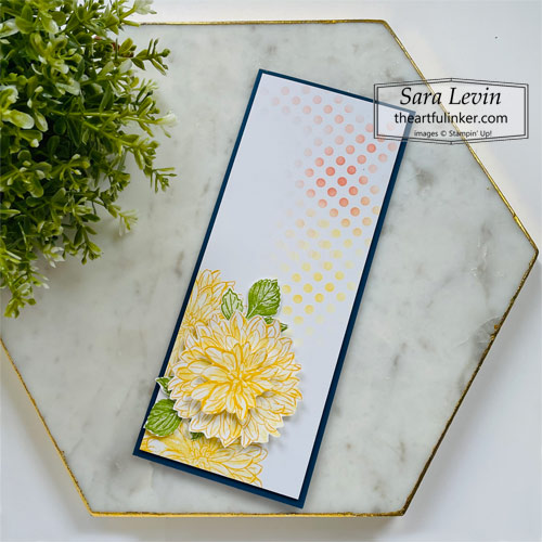 Delicate Dahlias slimline card SHOP for Stampin Up with Sara Levin at theartfulinker.com