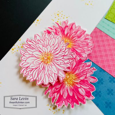Delicate Dahlias you inspire me scrapbook page, dahlia and splatter detail, for Scrapbooking Global Blog Hop strippy technique theme SHOP for Stampin Up with Sara Levin theartfulinker.com