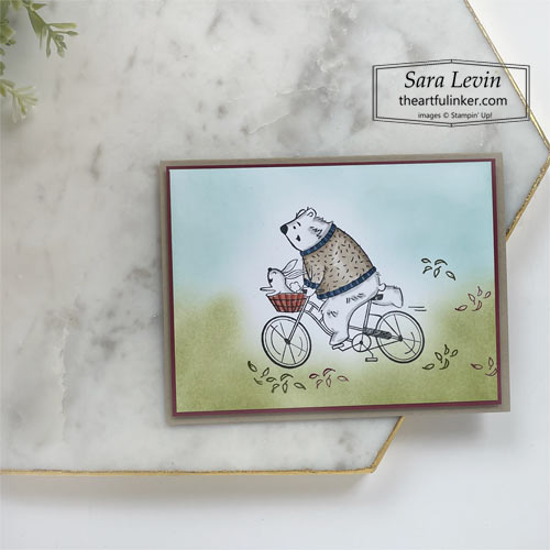Joyful Life bear on a bicycle card with blended background SHOP for Stampin Up with Sara Levin theartfulinker.com