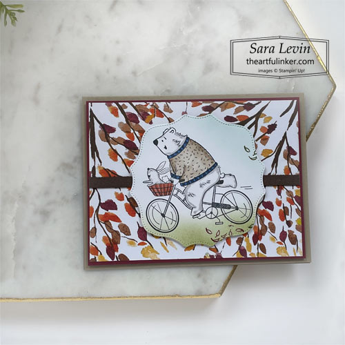 Joyful Life bear on a bicycle card with blended background and Beauty of the Earth designer paper SHOP for Stampin Up with Sara Levin theartfulinker.com