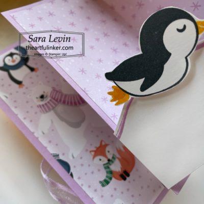 Penguin Place Floating Book Fold Card with Penguin Playmates designer paper inside sneak peek SHOP for Stampin Up with Sara Levin theartfulinker.com