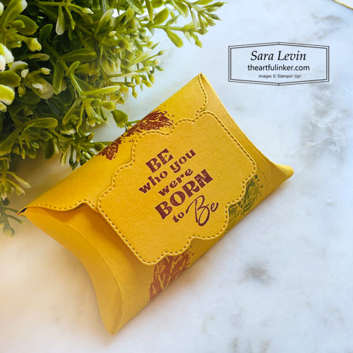 Pretty Pillowbox Dies for Fall with a Be who you were Born to be tag SHOP for Stampin Up with Sara Levin theartfulinker.com