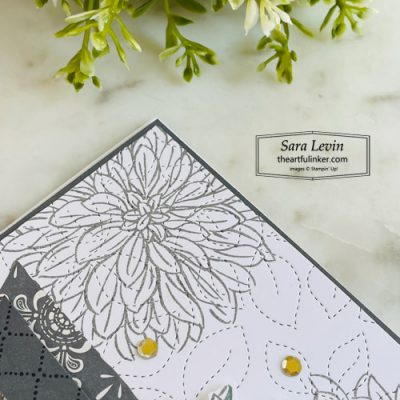 Delicate Dahlias clean and simple card with Simply Elegant designer paper sneak peek for Stamping Sunday SHOP for Stampin Up with Sara Levin theartfulinker.com