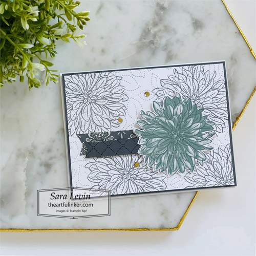 Delicate Dahlias clean and simple card with Simply Elegant designer paper for Stamping Sunday SHOP for Stampin Up with Sara Levin theartfulinker.com