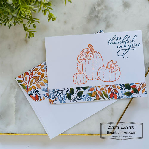 Pretty Pumpkins trio of Thank You cards simple stamping thank you for OSAT Blog Hop SHOP for Stampin Up with Sara Levin theartfulinker.com