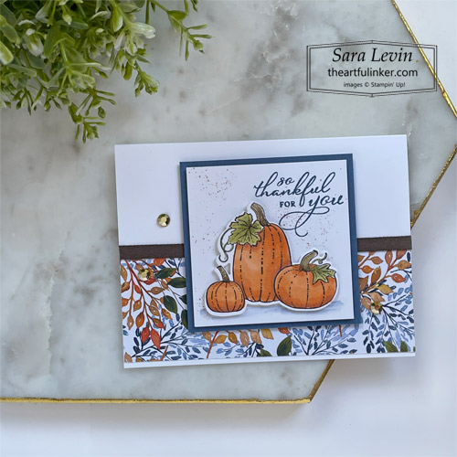 Pretty Pumpkins trio of Thank You cards casual stamping thank you with Beauty of the Earth designer paper for OSAT Blog Hop SHOP for Stampin Up with Sara Levin theartfulinker.com