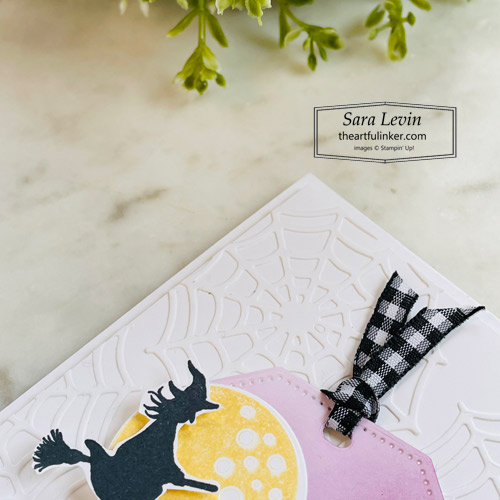 Frightfully Cute Halloween Card with spiderweb background detail SHOP for Stampin Up with Sara Levin theartfulinker.com