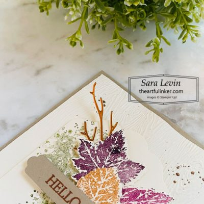 Gorgeous Leaves hello Fall card detail for Creation Station Hop SHOP for Stampin Up with Sara Levin theartfulinker.com