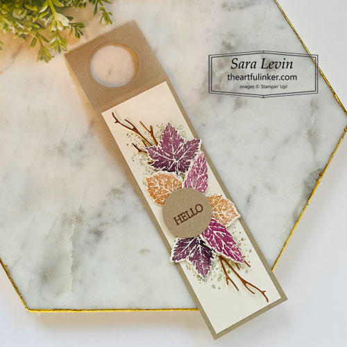 Gorgeous Leaves hello Fall wine bottle tag for Creation Station Hop SHOP for Stampin Up with Sara Levin theartfulinker.com