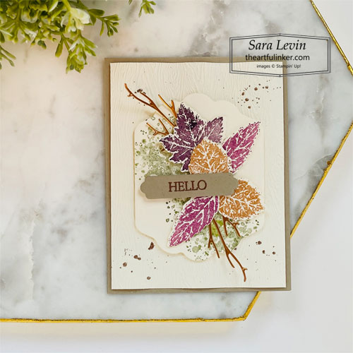 Gorgeous Leaves hello Fall card for Creation Station Hop SHOP for Stampin Up with Sara Levin theartfulinker.com