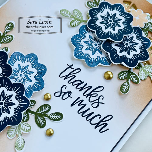 In Symmetry Gilded Fall thank you card sentiment detail for GDP312 SHOP for Stampin Up with Sara Levin theartfulinker.com