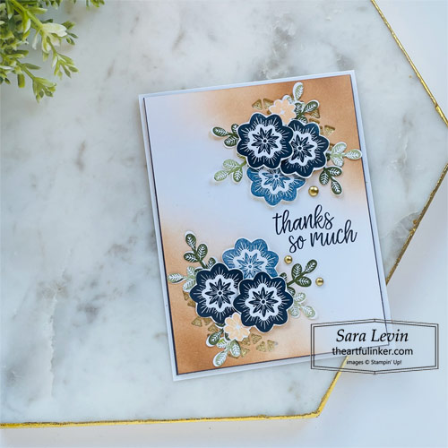 In Symmetry Gilded Fall thank you card for GDP312 SHOP for Stampin Up with Sara Levin theartfulinker.com