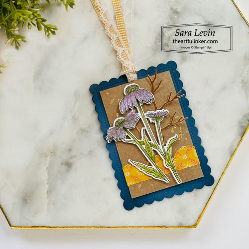 Nature's Harvest sweater weather Fall gift tag with Harvest Meadow designer paper and gilded splatter for Stamping Sunday Blog Hop SHOP for Stampin Up with Sara Levin theartfulinker.com